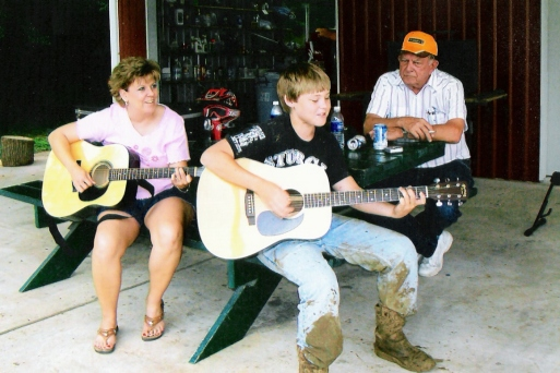 Mom, Travis, and Grandpa - 2007 - Weimar, TX